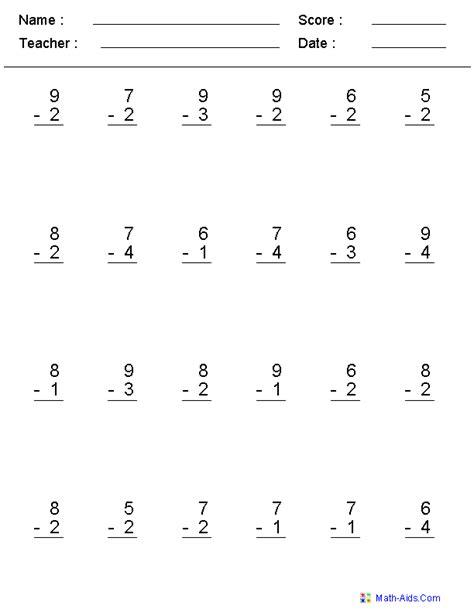single digit multiplication facts worksheet single digit subtraction worksheets school