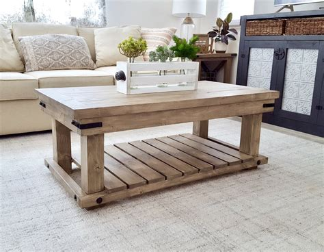 This super functional coffee table is 35″ wide and 17″ tall. DIY Industrial Coffee Table - Handmade Haven