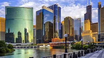 Chicago River Usa Illinois Skyscrapers Bridge Background