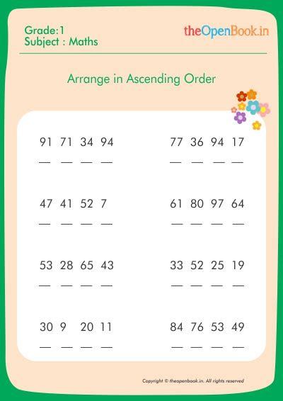 math worksheets  grade  ascending  descending order