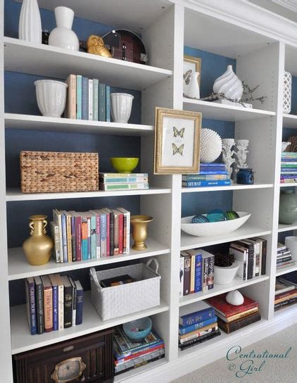 how to paint back of bookcase white shelves with painted back wall home office design