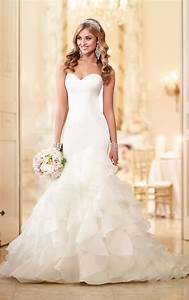 organza satin fit and flare bridal gown stella york With satin fit and flare wedding dress