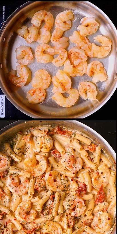 Shrimp Pasta Mozzarella Creamy Recipes Dinner Seafood