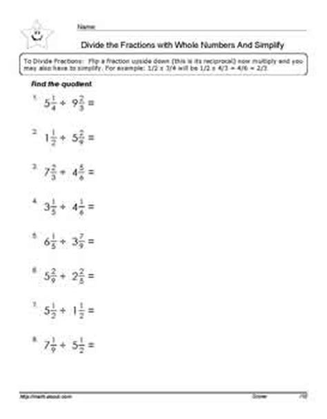 division math printable fractions worksheets dividing fractions number worksheets