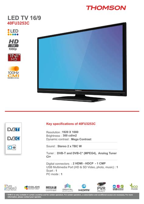 "Thomson 40FU3253C 40"" Full HD Black LED TV Manualzz"