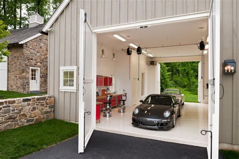 Kitchen Cabinet Organization Ideas - garage car wash farmhouse with white floor traditional bar stools and counter
