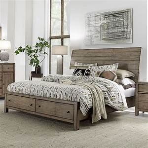 Gray Wooden Sleigh Bed With Storage Drawers — Railing