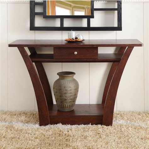 Sofa Table Contemporary by Furniture Of America Magnolia Modern 1 Drawer Walnut