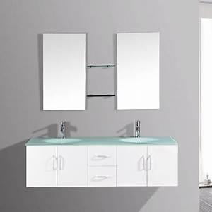 gaia blanc ensemble salle de bains meuble 2 vasques 2 With ensemble meuble salle de bain 2 vasques