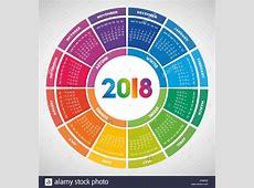 Colorful round calendar 2018 design Week starts on Monday