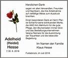 Traueranzeigen von Adelheid Hesse | Trauer.HNA.de