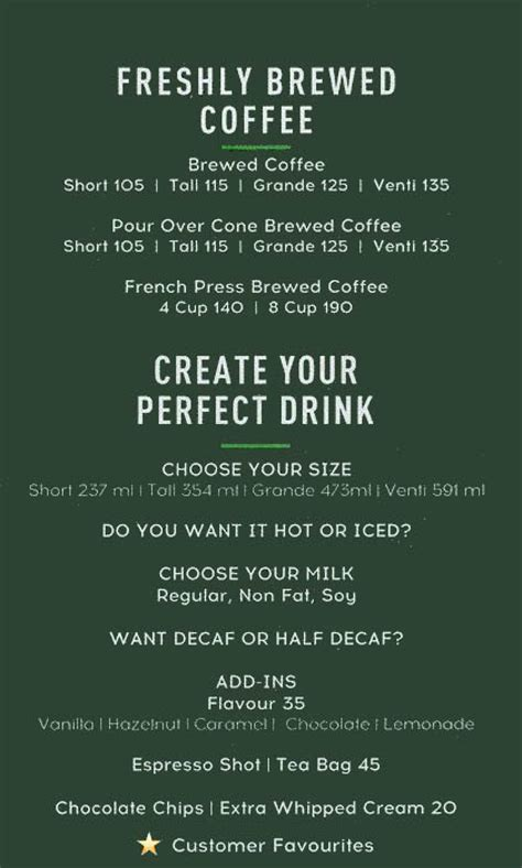The perfect cup of coffee and a wholesome, delicious meal or snack can make your day. Menu of Starbucks Coffee, Powai, Central Mumbai, Mumbai | EazyDiner