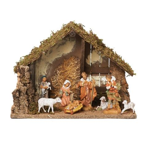 fontanini 8 piece nativity set with italian stable the