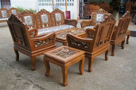Organic Futon by Carved Teak Wood Living Room Furniture Set Dragon With