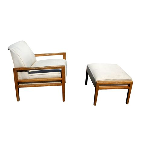 vintage white mid century lounge chair and ottoman ebay
