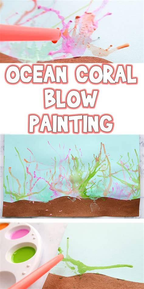 ocean coral blow painting summer kids art project woo