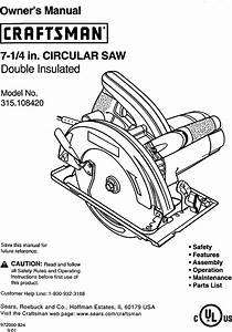 Craftsman 315108420 User Manual Circular Saw Manuals And