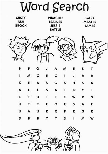 Pokemon Word Coloring Easy Pages Searches Printable