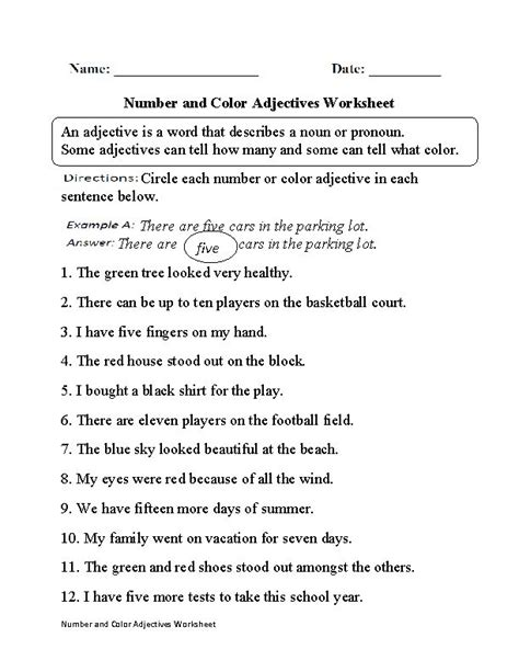 number  color adjectives worksheet adjective