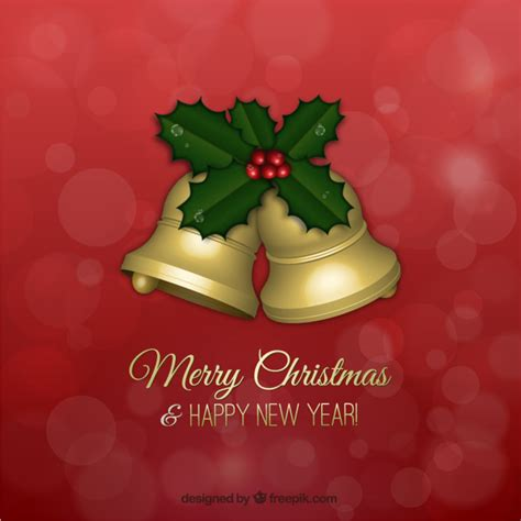 christmas bell s christmas wishes christmas greetings card with golden bells vector free download