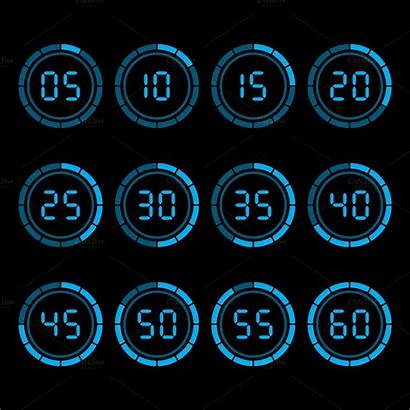 Countdown Digital Timer Five Minutes Interval Graphics