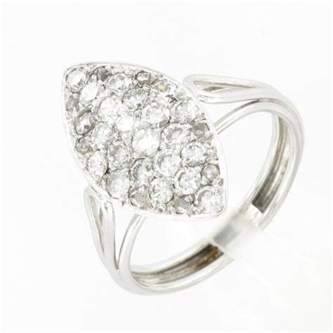 bague marquise or blanc diamants