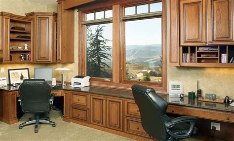 The Custom Home Office Cabinets Design Including Desk And