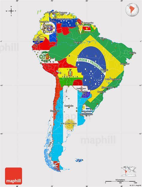 flag map  south america