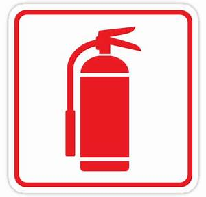 """Fire extinguisher symbol, red on white with red border ..."