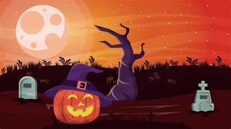 Happy Halloween Animated Scene With Pumpkin In Cemetery