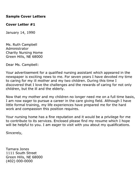Cover Letter For Nursing Position by Cover Letter Sles Free Cover Letter Templates
