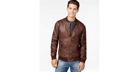 lucky bomber lyst lucky brand leather bomber jacket in brown for
