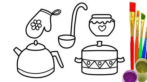 Coloring Utensil by How To Draw Kitchen Cooking Utensils Coloring Pages
