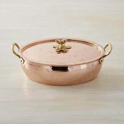 ruffoni historia copper oval roaster  acorn lid williams sonoma