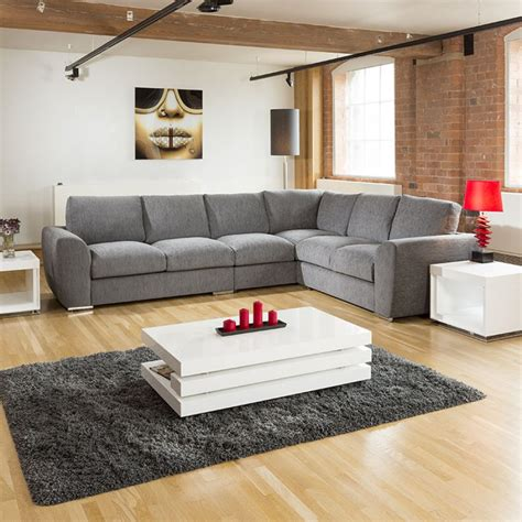 Settee Set by Large L Shape Sofa Set Settee Corner 335x265cm Grey
