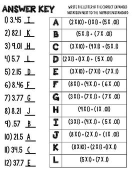 Decimals - Standard Form to Expanded Notation by Keepin