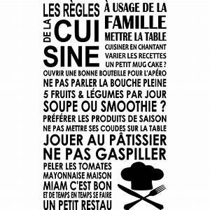 Sticker Les régles de la cuisine toque Stickers Citations Français Ambiance sticker