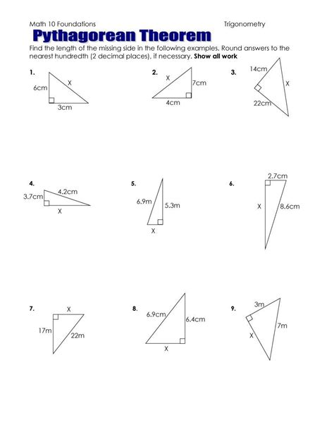 worksheets pythagorean theorem worksheets