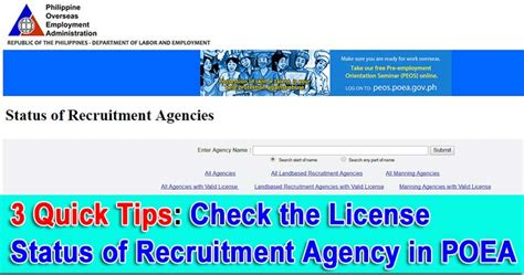 poea accredited agency lists 2017 3 quick tips to verify the license of the recruitment agency