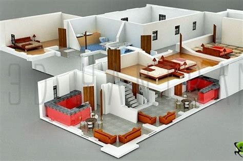 3d home interiors interior plan houses 3d section plan 3d interior design