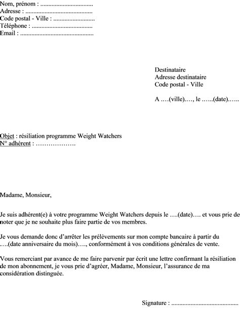 mod 232 le de lettre de r 233 siliation programme weight watchers actualit 233 s informations pratiques