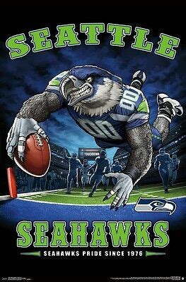 seattle seahawks  zone mascot poster  nfl