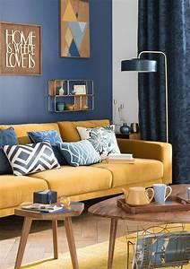 Canapé Et Fauteuil Scandinave : d co salon deco bleu et jaune salon scandinave canap jaune moutarde decoration murale ~ Teatrodelosmanantiales.com Idées de Décoration