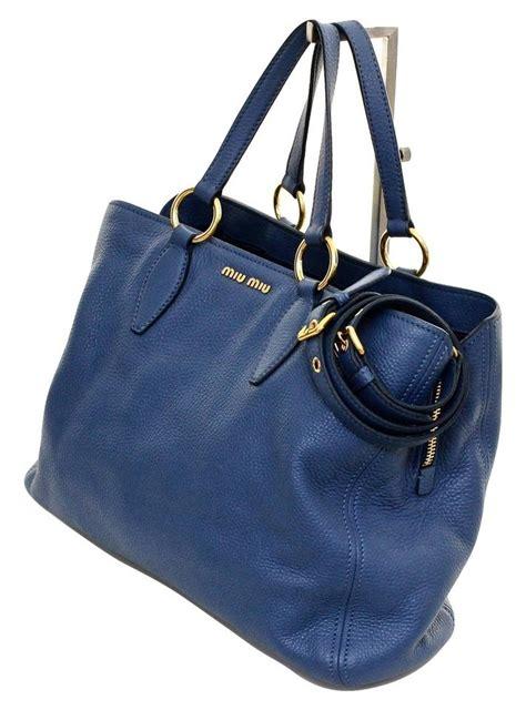 Sepatu Miu Miu 2 miu miu shopping convertible blue leather tote tradesy