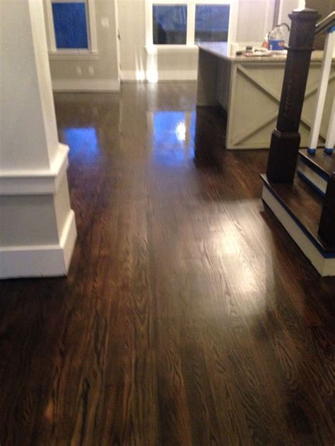 Hardwood floors/ ebony duraseal quick coat on red oak   L