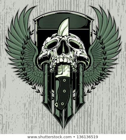stabbing skulls  knife vector   vector