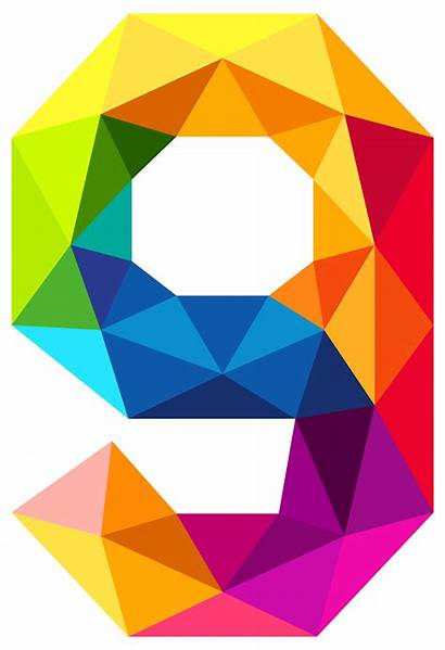 Number Nine Colourful Clipart Triangles Triangle Rainbow