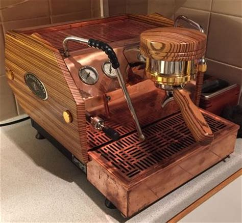 hand crafted custom wood panels  la marzocco gs