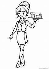 Kellner Camareras Colorear Waiters Coloring Cameriere Bambini Camareros Kellnerinnen Waitresses Colorare Immagini Imprimir Chelneri Camerieri Dibujos Disegni Memory Ocupaciones Varityskuvia sketch template