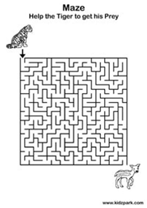 tiger maze worksheetdownloadable activity